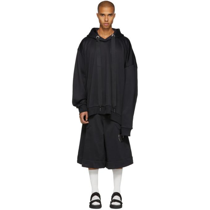 Image of Marques Almeida Black Asymmetric Hoodie