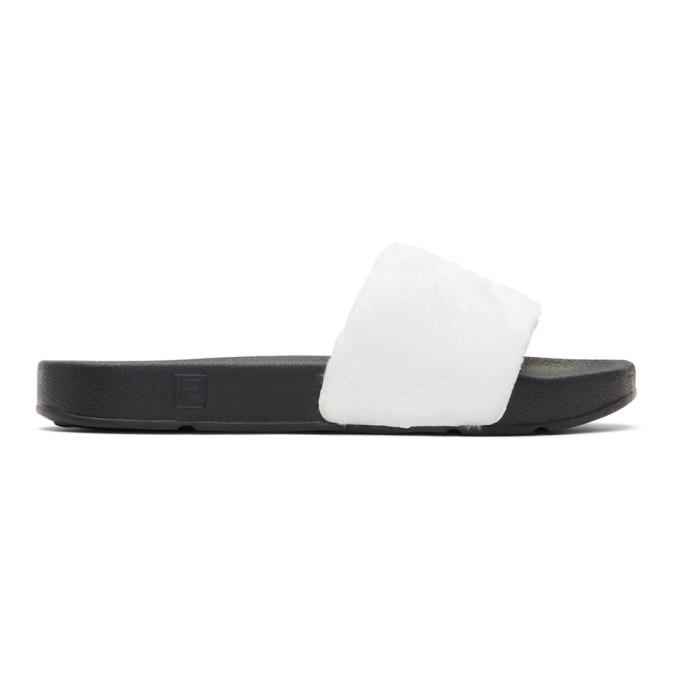 Baja East White & Black Fila Edition Shearling Drifter Slides