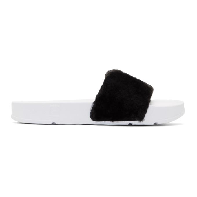 Baja East Black & White Fila Edition Shearling Drifter Slides