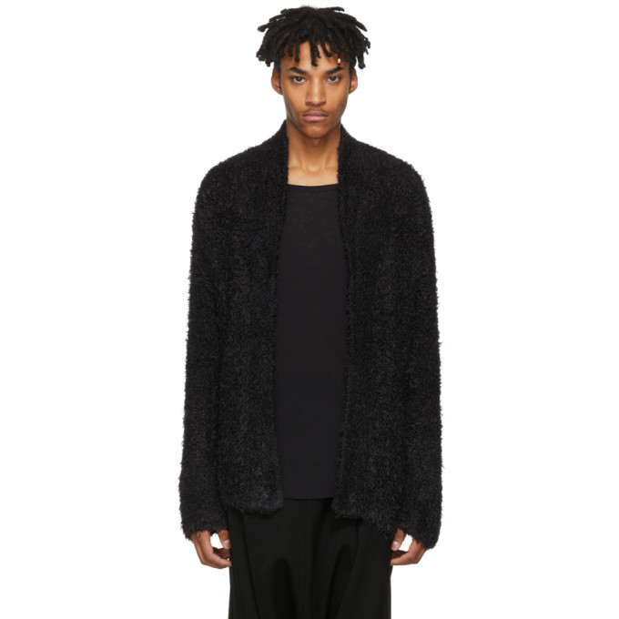 Image of Baja East Black Fuzzy Knit Cardigan