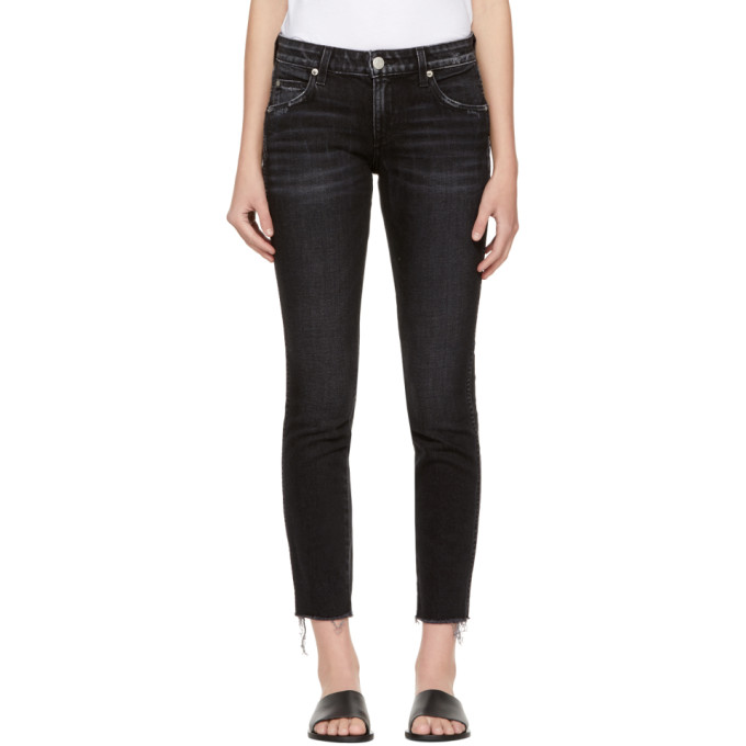 Image of Amo Black Stix Crop Frayed Jeans