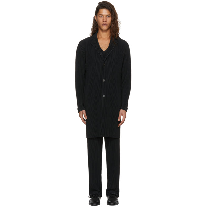 Homme Plissé Issey Miyake ブラック プリーツ シングルブレスト コート