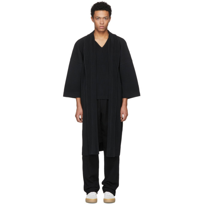 Image of Homme Plissé Issey Miyake Black Long Double Pocket Open Coat