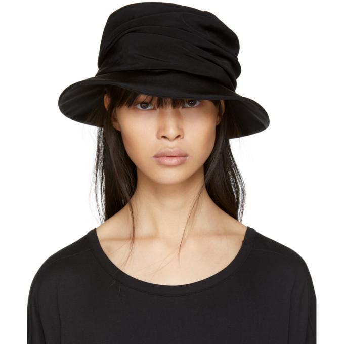 Image of Y's Black Drape Cloche Hat