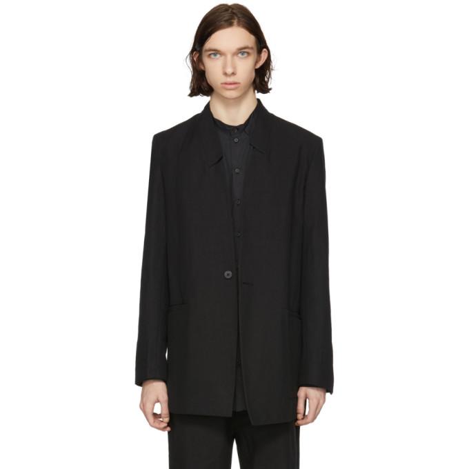 Image of Isabel Benenato Black Asymmetric Collar Blazer