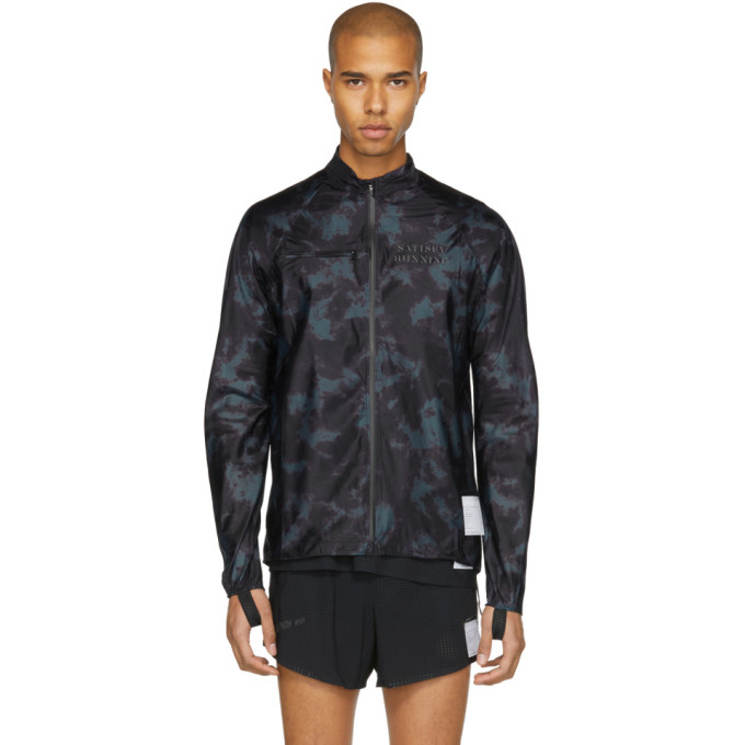 Image of Satisfy Black & Navy Tie-Dye Ultra-Light Running Jacket