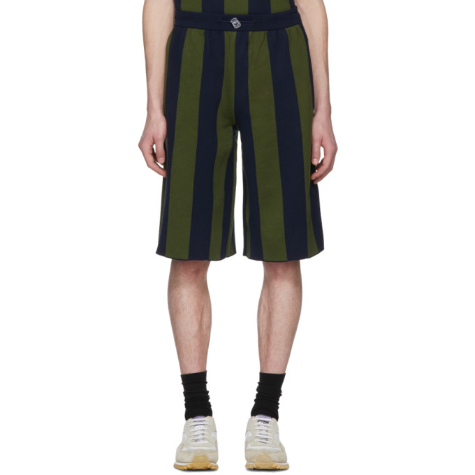 Image of Sunnei Green & Navy Striped Shorts