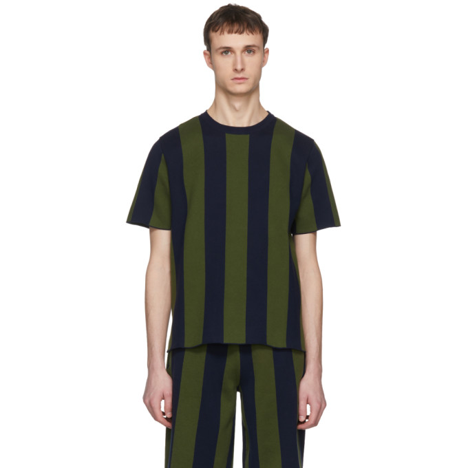 Image of Sunnei Green & Navy Striped T-Shirt