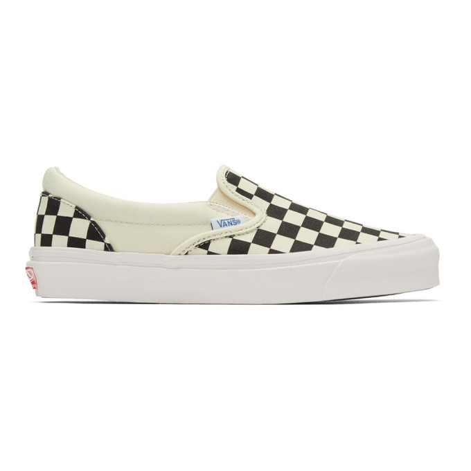 Vans Black & Off-White OG Checkerboard Classic Slip-On Sneakers