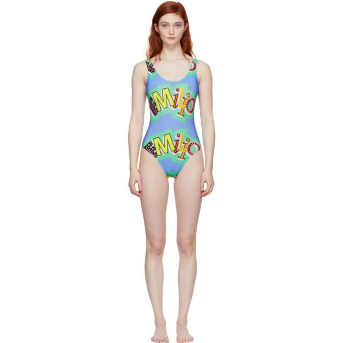 Image of Emilio Pucci Blue Logo Low-Back Swimsuit