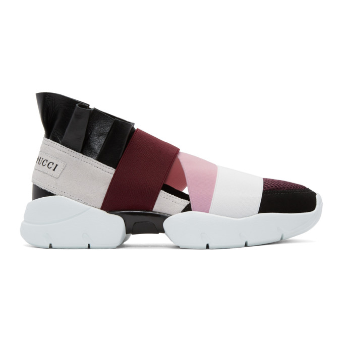 Image of Emilio Pucci Black & Burgundy City Up Sneakers