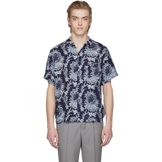 Image of Éditions M.R Blue Safari Print Shirt