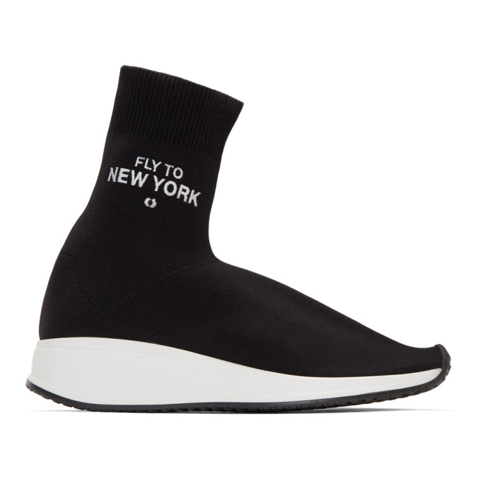 Image of Joshua Sanders Black 'Fly Me To New York' Sock Sneakers