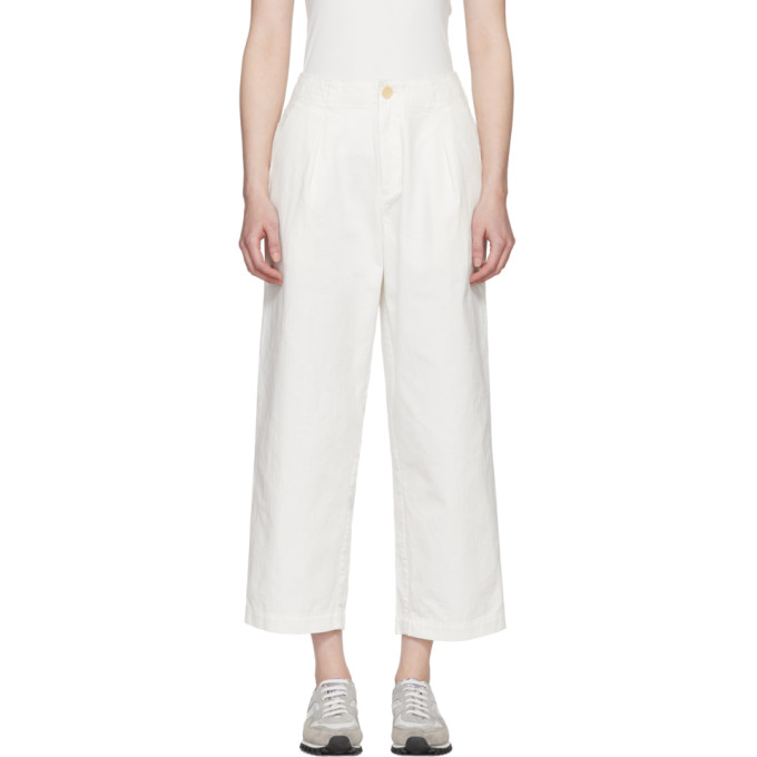 Blue Blue Japan White Cotton One Tuck Work Trousers