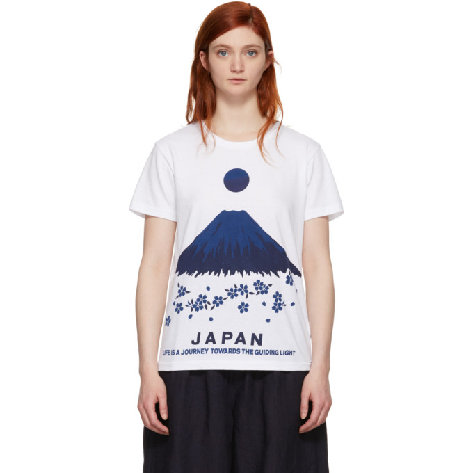 Blue Blue Japan White Mt. Fuji Sakura T-Shirt