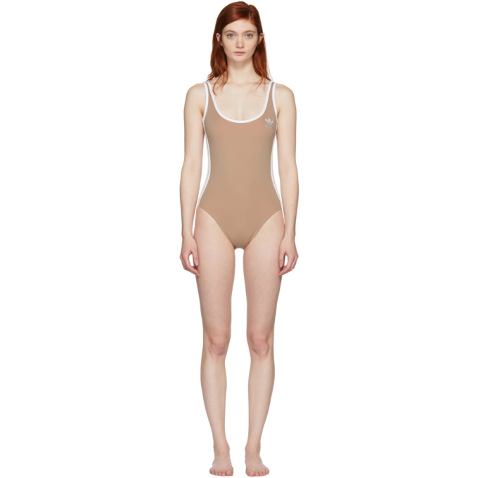 Image of adidas Originals Beige 3-Stripes Bodysuit