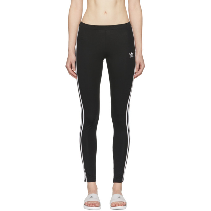 Image of adidas Originals Black 3-Stripe Leggings