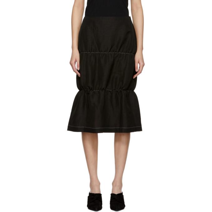 Image of Wales Bonner Black Gathered Skirt