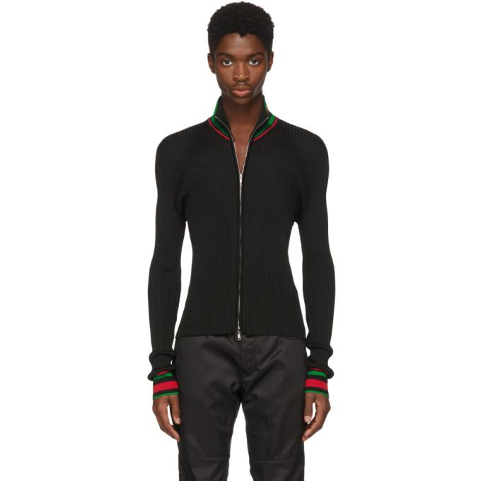 Image of Wales Bonner Black Palms Zip Sweater