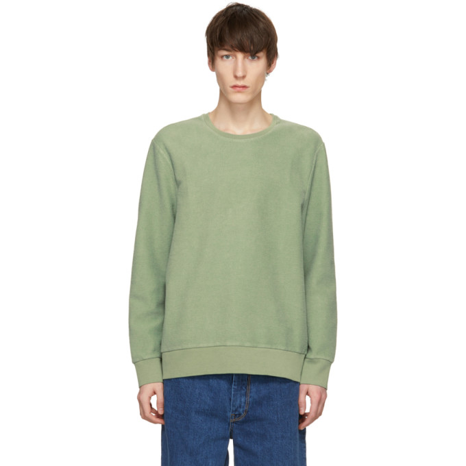 Image of CMMN SWDN Green Coen Reversed Loopback Sweatshirt
