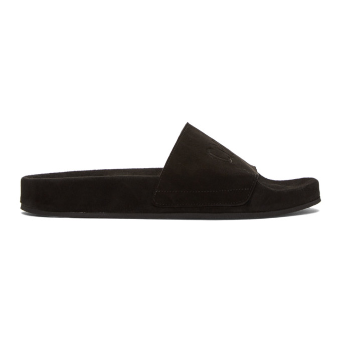 Image of CMMN SWDN Black Suede Pool Slides