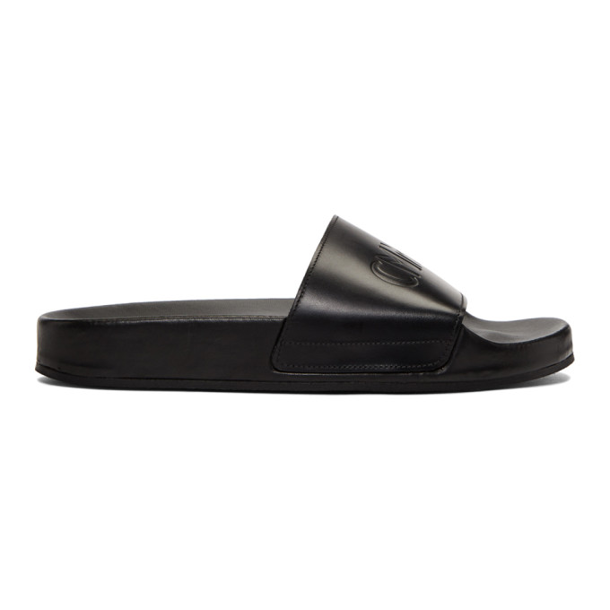 Image of CMMN SWDN Black Leather Pool Slides