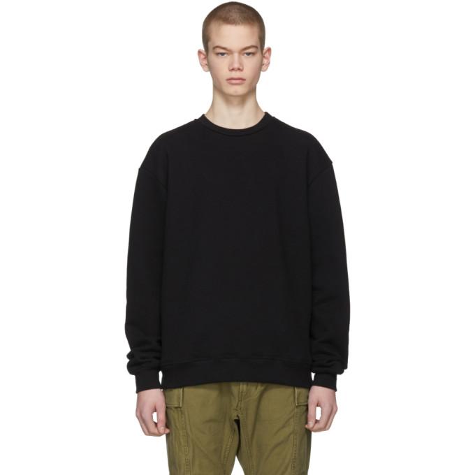 Image of John Elliott Black Oversized Crewneck Sweatshirt