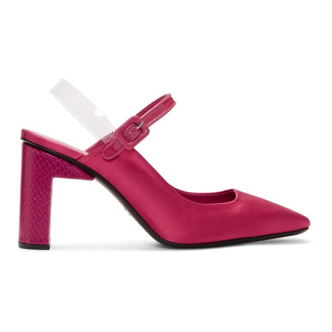 1017 Alyx 9SM Pink Satin Squared Pointy Heels