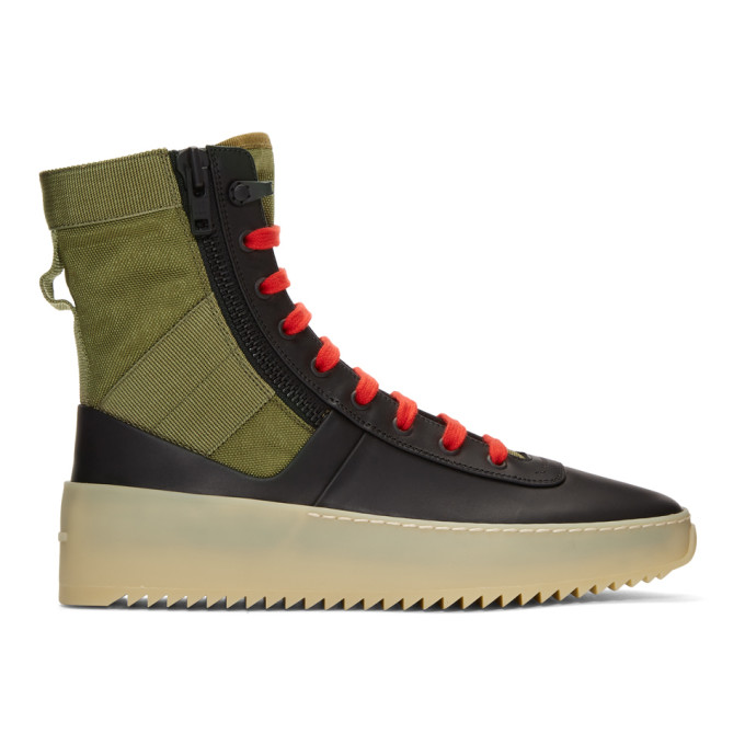 Fear of God Black & Green Jungle High-Top Sneakers