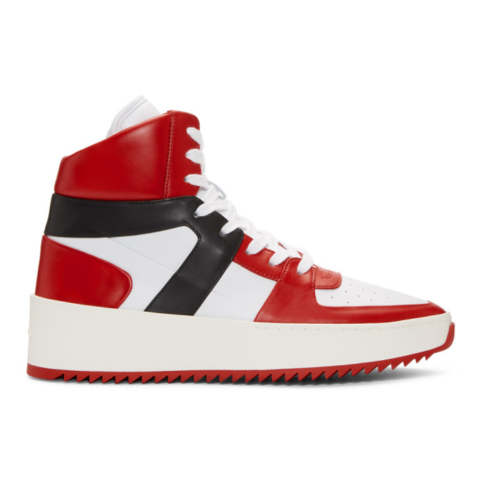 Fear of God Red & White B-Ball High-Top Sneakers