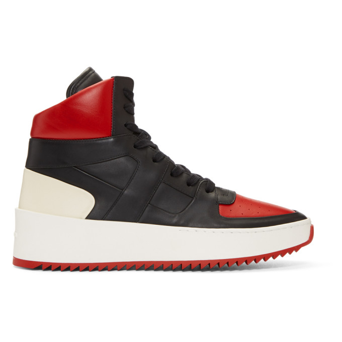Fear of God Red & Black B-Ball High-Top Sneakers