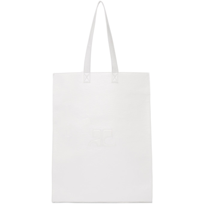 Image of Courrèges White Large Vinyl Carrier Tote