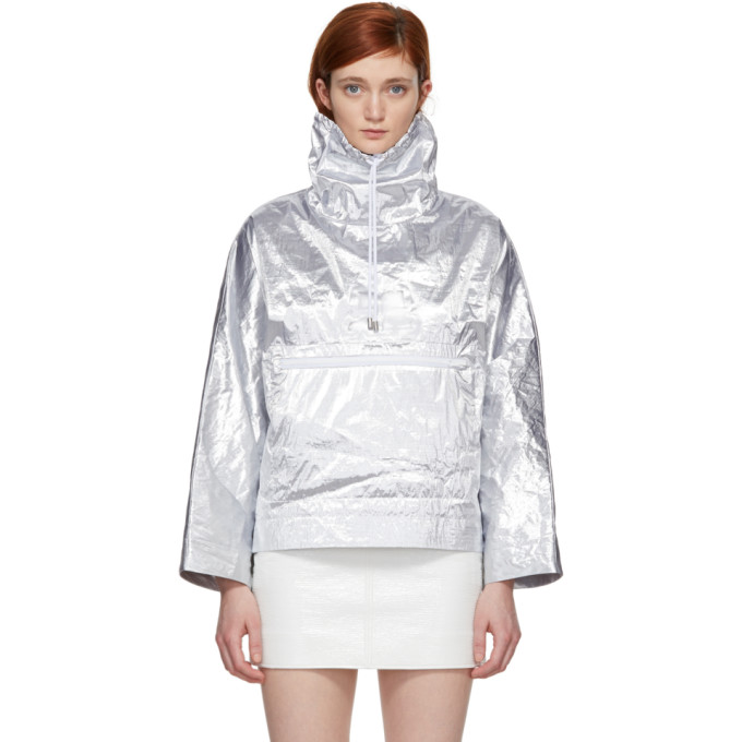 Image of Courrèges Silver Snap Sleeve Windbreaker