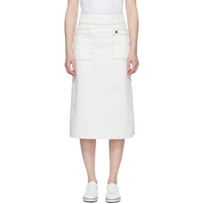 Image of Courrèges White Midi Denim Skirt