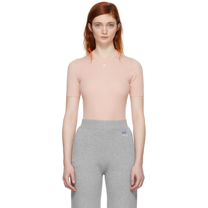Image of Courrèges Pink Ribbed Mock Neck Sweater