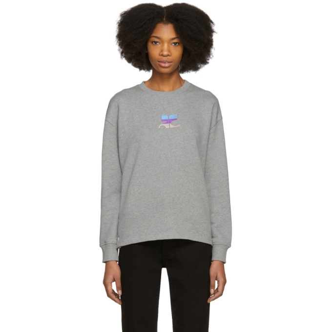 Image of Courrèges Grey Snapped Logo Sweatshirt