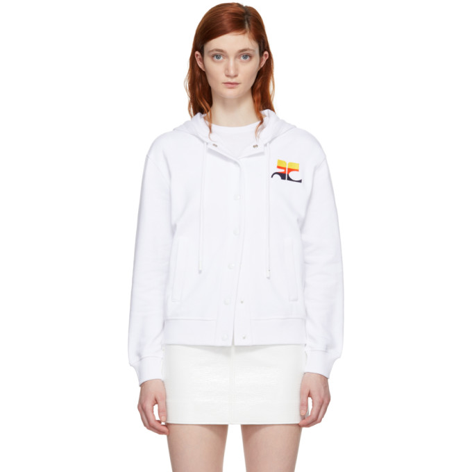 Courreges Pull a capuche raye blanc Logo Snap