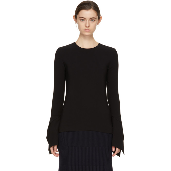 Image of Victoria Beckham Black Flare Sleeve Blouse