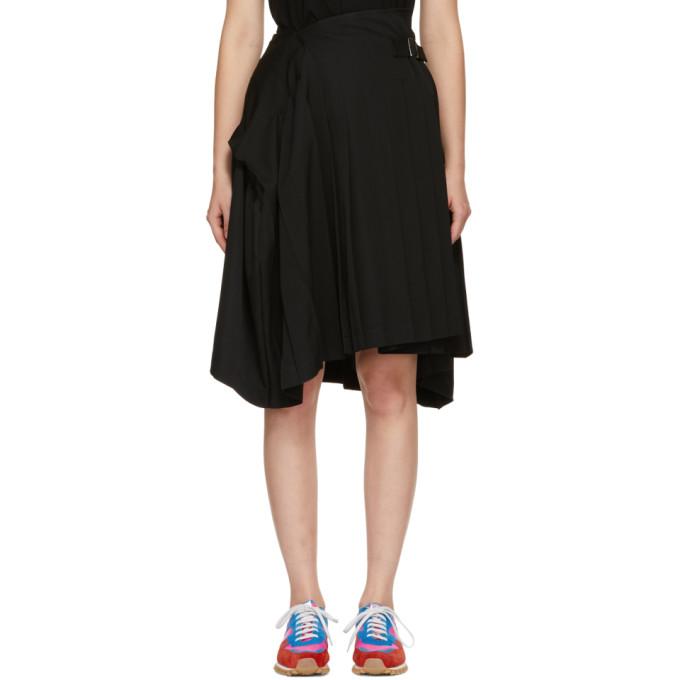 Image of Tricot Comme des Garçons Black Wool Pleated Asymmetric Belt Skirt