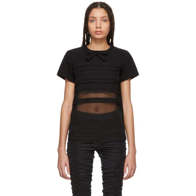 Image of Tricot Comme des Garçons Black Georgette Stripe Panel T-Shirt