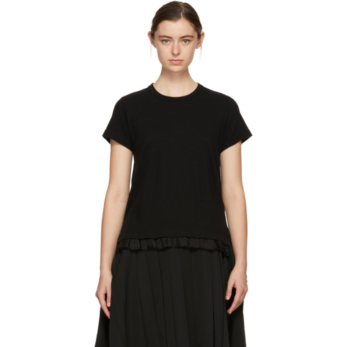 Image of Tricot Comme des Garçons Black Ruffled Hem T-Shirt