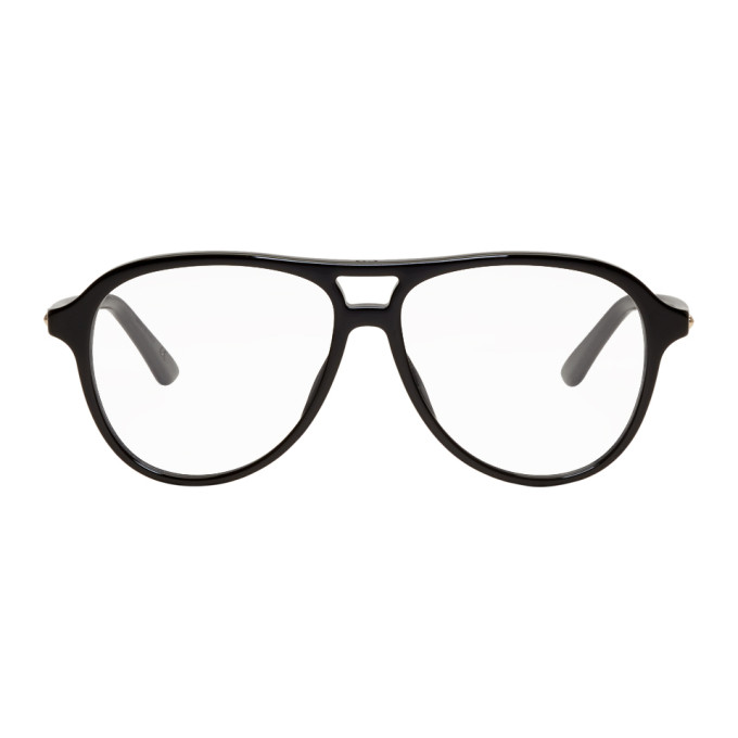 Image of Dior Black Montaigne Aviator Glasses