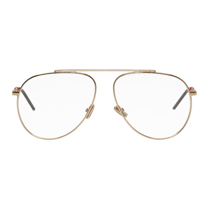Image of Dior Gold Single Bridge Aviator Glasses