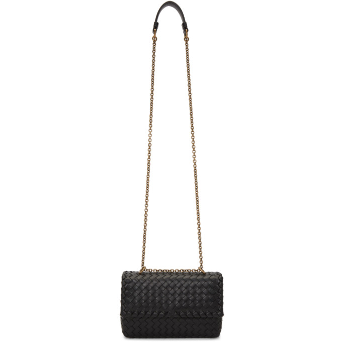 Bottega Veneta Black Intrecciato Baby Olympia Chain Bag