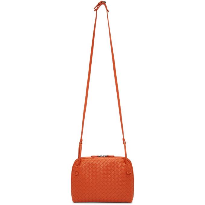Bottega Veneta Orange Intrecciato Nodini Messenger Bag