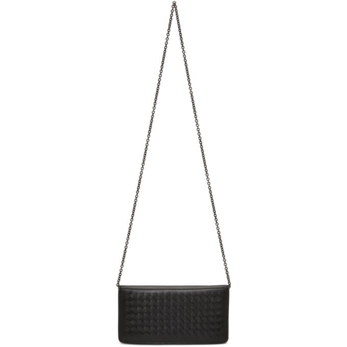 Bottega Veneta Black Intrecciato Wallet Chain Bag
