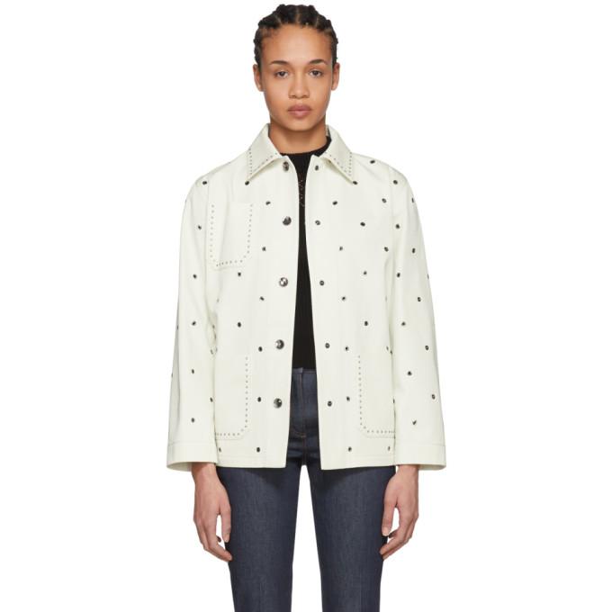 Bottega Veneta White Eyelet Long Jacket