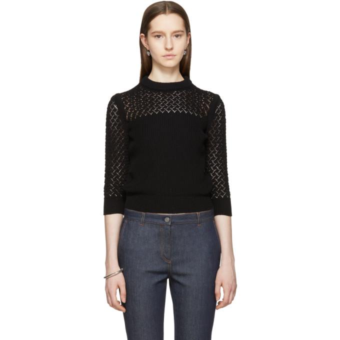 Image of Bottega Veneta Black Cropped Crewneck Sweater