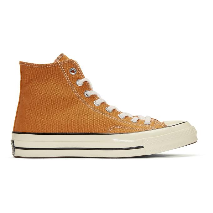 Converse Orange Chuck Taylor Canvas Vintage High-Top Sneakers