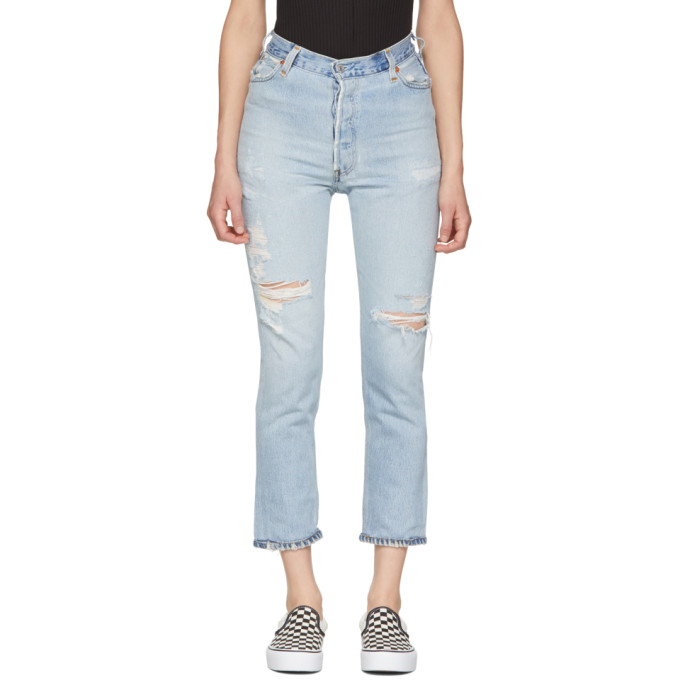 Re/Done Indigo Levi's Edition No Destruction High-Rise Ankle Crop Jeans